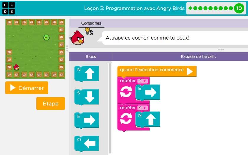Code.org - Leçons avec Angry Birds