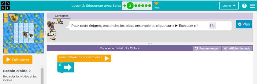 Code.org - Première leçon avec Scrat