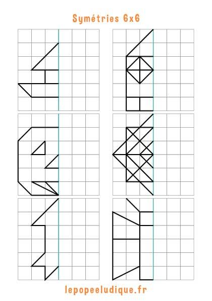 Jeu de symétrie à imprimer - Grille 6x6