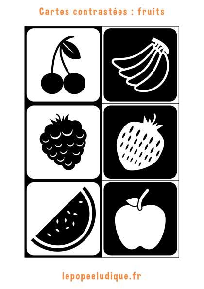 Images contrastées Montessori : fruits