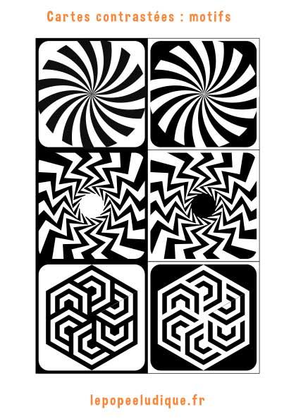 images contrastees montessori motifs
