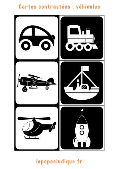 images contrastees montessori vehicules