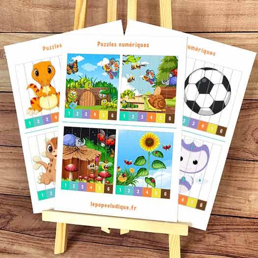 Puzzles numériques 1 à 6 maternelle